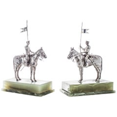 Asprey Pair or Horseriding Solid Silver Figurines on Marble Bases, London, 1977