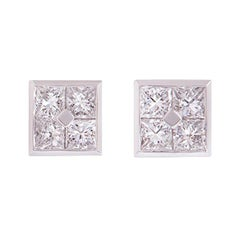 Asprey Platinum Square Design Princess Cut Diamond Stud Earrings 1.48 Carat