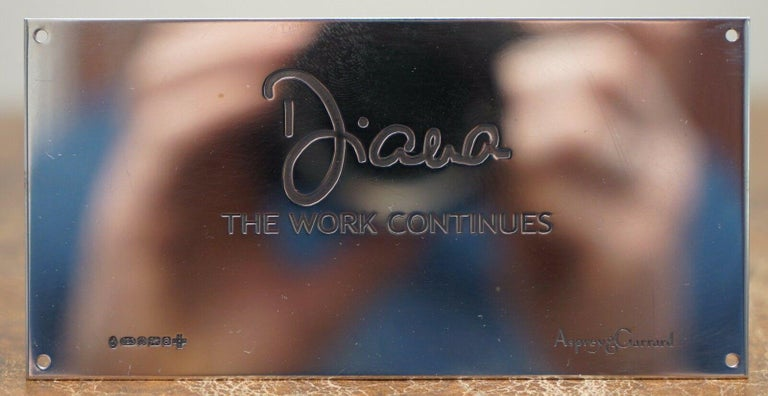 Modern Asprey Princess Diana The Work Continues Solid Sterling Silver Millennium Plaque For Sale