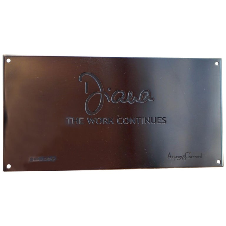 Asprey Princess Diana The Work Continues Solid Sterling Silver Millennium Plaque For Sale