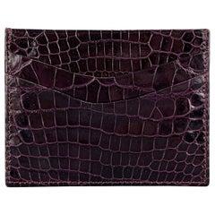 ASPREY Purple Plum Crocodile Rectangle Flat Card Case