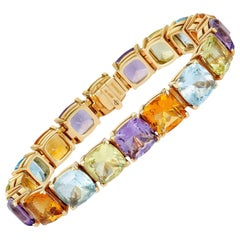 Asprey Square Cushion Cut Multi-Gemstone Yellow Gold Bracelet