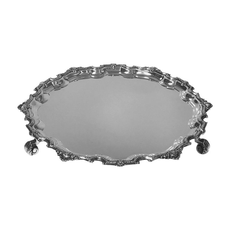 Asprey Sterling Georgian Style Salver, Birmingham, 1914 For Sale