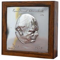 Asprey Sterling Silver Winston Churchill Anniversary Calamander Cigarette Box