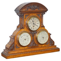 Asprey Victorian Mahogany Cased Mantle Clock Barometer & Thermometer Combination