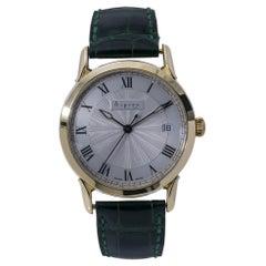 Asprey Vintage Rare Automatic Men's Watch SIlver Opaline Dial 18k YG