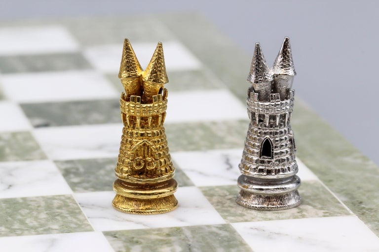 Asprey White and Yellow Gold Marble Chess Set For Sale 6