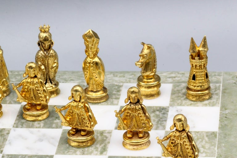 Women's or Men's Asprey White and Yellow Gold Marble Chess Set For Sale