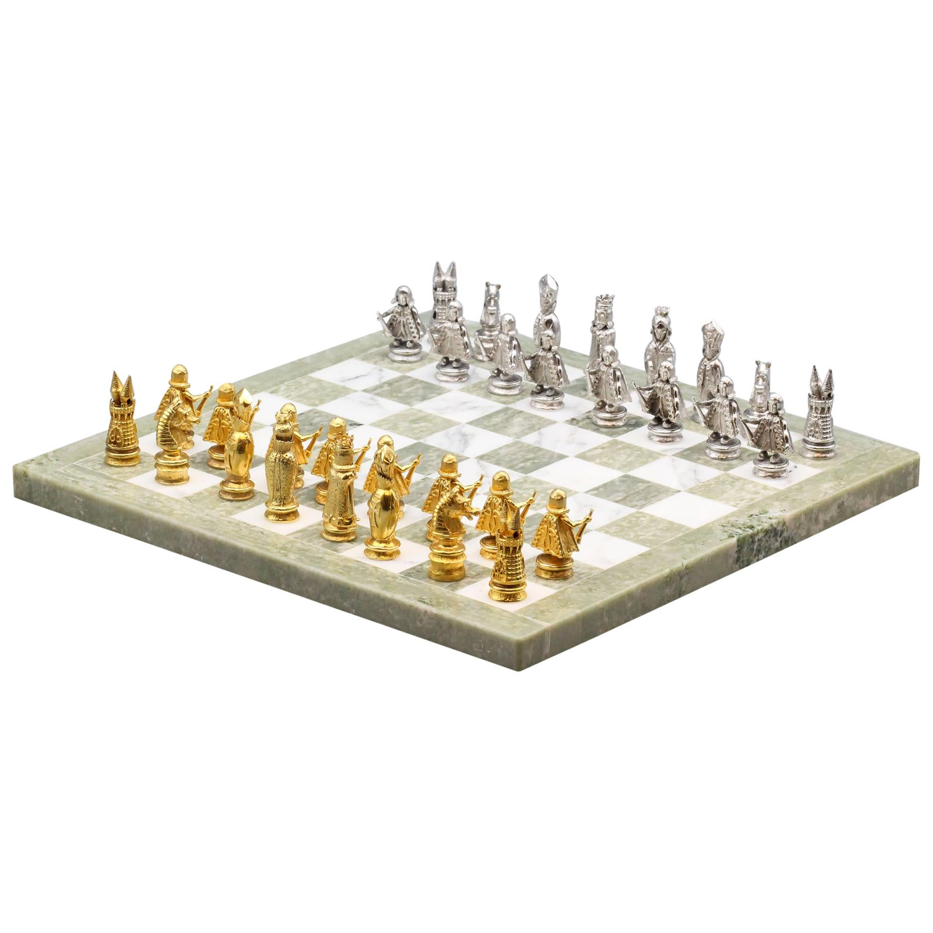 Asprey White and Yellow Gold Marble Chess Set