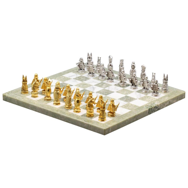 Asprey White and Yellow Gold Marble Chess Set For Sale