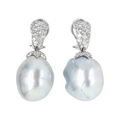 Assael 18 Karat Gold Baroque Pearl and Diamond Earrings