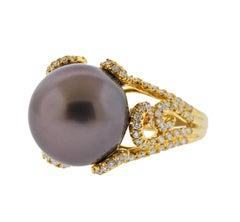 Assael Chocolate South Sea Pearl Diamond Gold Ring