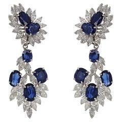 Assael Diamond and Sapphire Detachable Chandelier Dangle Earrings