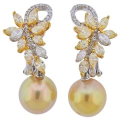 Assael Diamond Golden South Sea Pearl Gold Earrings