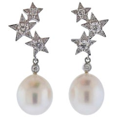 Assael Diamond Pearl Gold Star Earrings