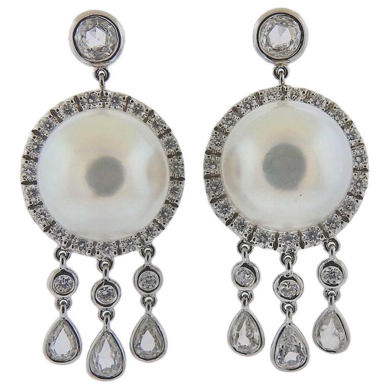 Assael Diamond South Sea Pearl Gold Drop Earrings