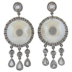 Assael Diamond South Sea Pearl Gold Drop Earrings