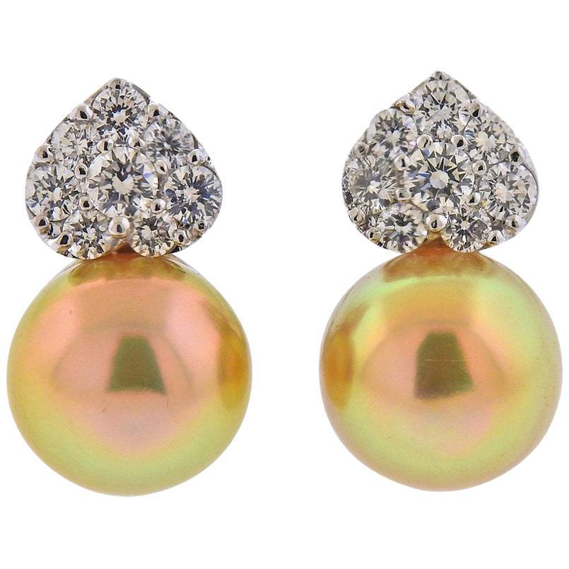 Assael Diamond South Sea Pearl Gold Earrings