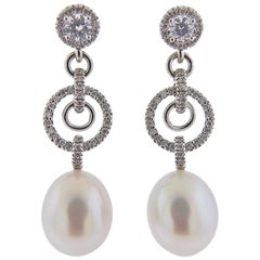 Assael Diamond South Sea Pearl Gold Long Drop Earrings