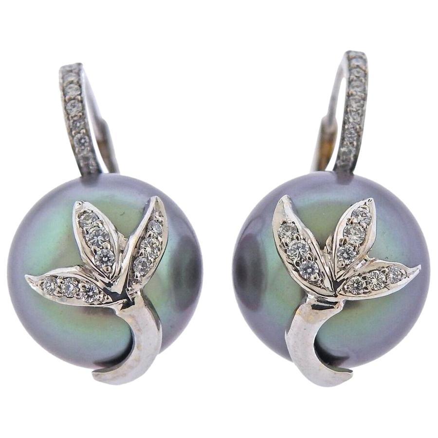 Assael Diamond Tahitian South Sea Pearl Gold Earrings