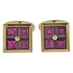 Assael Gold Ruby Cufflinks