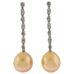 Assael Golden South Sea Pearl Diamond Gold Long Drop Earrings