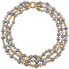 Assael Keshi Pearl Diamond Gold Three-Strand Necklace