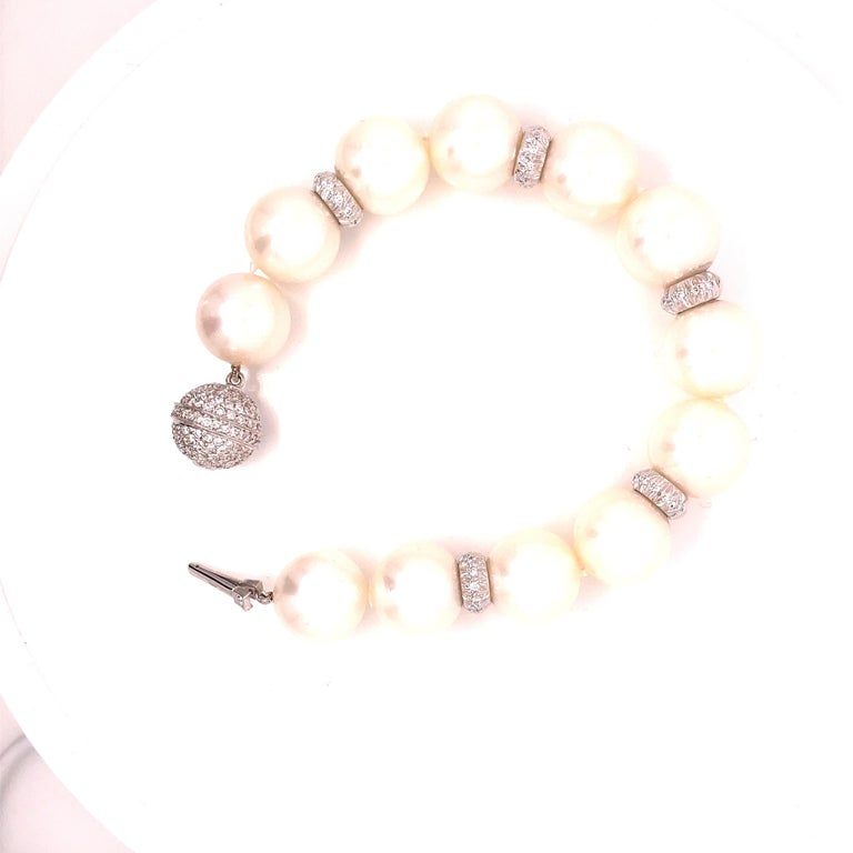 Phenomenally gorgeous and beautiful Assael Pearl and Diamond Bracelet measuring 8 inches long.