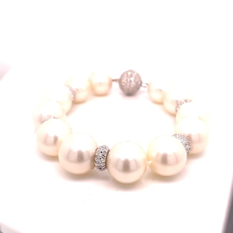 Modern Assael Pearl and Diamond Bracelet For Sale