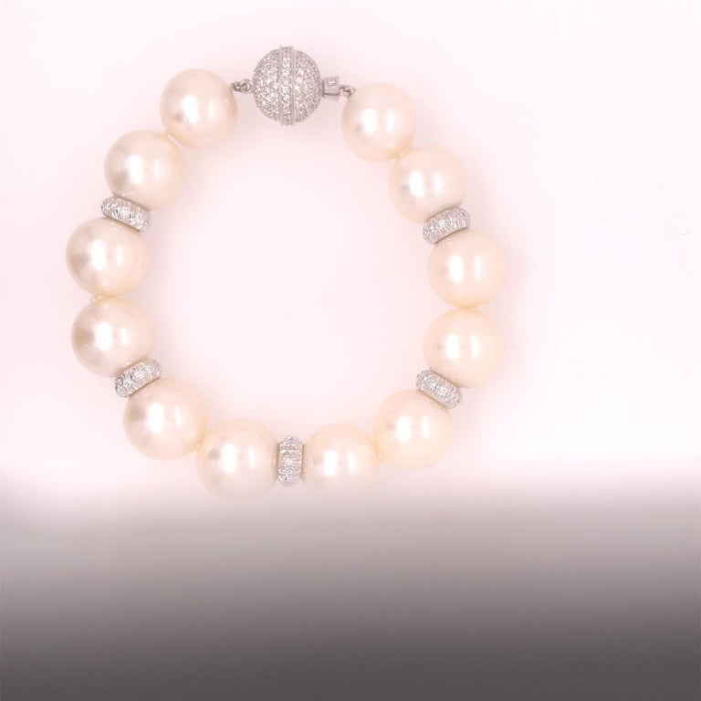 Round Cut Assael Pearl and Diamond Bracelet For Sale