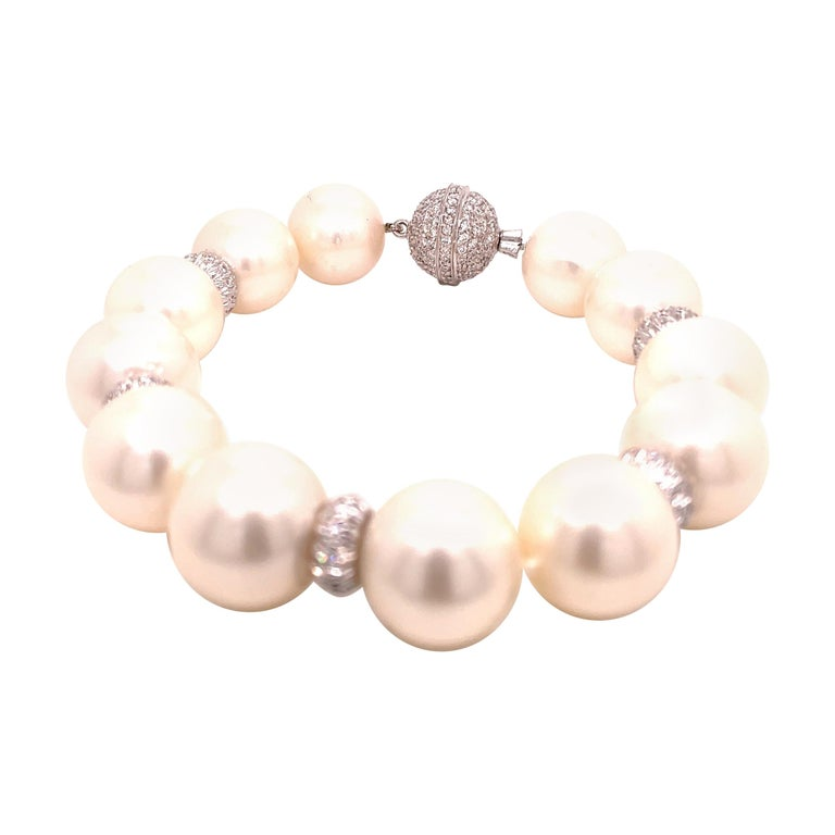 Assael Pearl and Diamond Bracelet For Sale