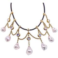 Assael Rose Cut Diamond Baroque Pearl Moonstone Necklace