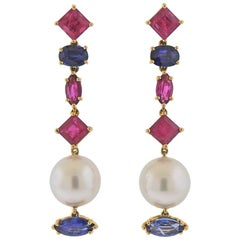 Assael Ruby Sapphire Pearl Gold Earrings