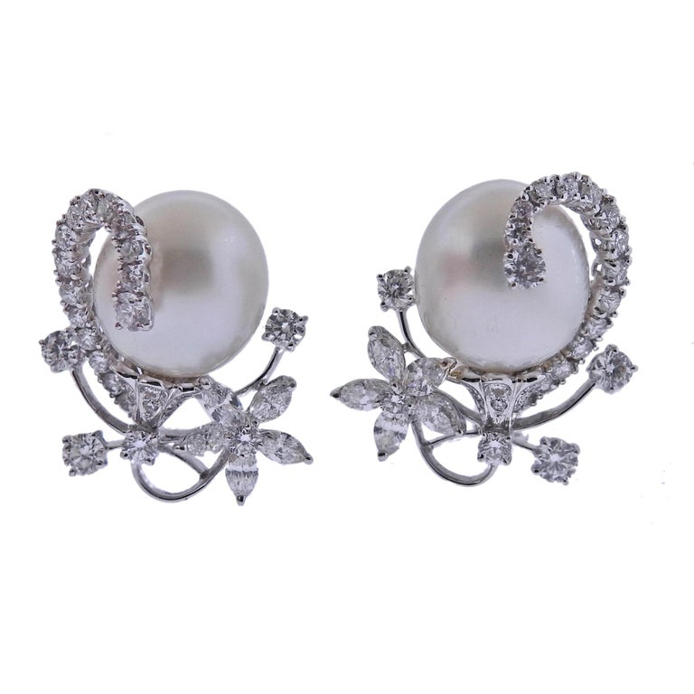 Assael South Sea Pearl Diamond Gold Cocktail Earrings For Sale