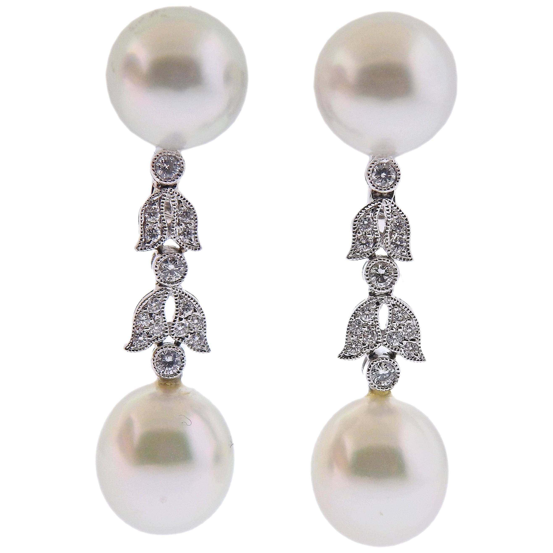 Assael South Sea Pearl Diamond Gold Drop Earrings