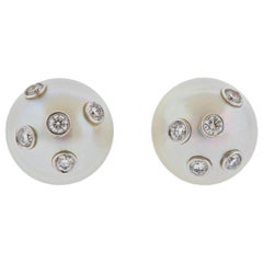 Assael South Sea Pearl Diamond Gold Earrings