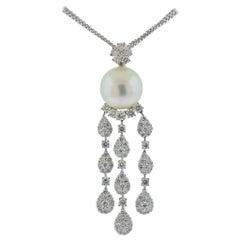 Assael South Sea Pearl Diamond Gold Pendant Necklace
