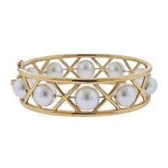 Assael South Sea Pearl Gold Bangle Bracelet