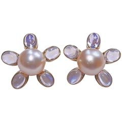 Assael South Sea Pearl Moonstone Gold Flower Earrings
