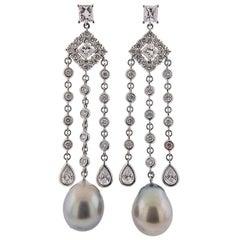 Assael South Sea Tahitian Pearl Diamond Gold Chandelier Earrings