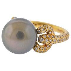 Assael South Sea Tahitian Pearl Diamond Gold Cocktail Ring