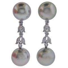 Assael Tahitian South Sea Pearl Diamond Gold Long Drop Earrings