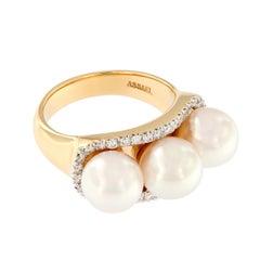 "Assael ""Trilogy"" Akoya Pearl Diamond Ring"
