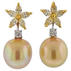 Assael White Yellow Diamond South Sea Pearl Gold Earrings