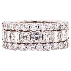 Asscher and Round Brilliant Cut Diamond Three-Row Eternity Band 18K White Gold