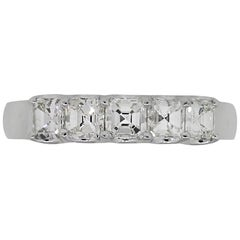 Asscher Cut 5 Diamond Ladies Wedding Band