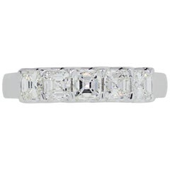 Asscher Cut 5 Diamond Wedding Band