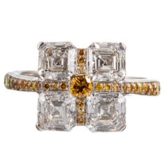 Asscher Cut and Yellow Diamond Ring, Signed Daniel K