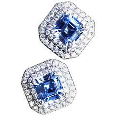 Asscher Cut Ceylon Blue Sapphire and Diamond Earrings in White Gold