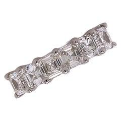 Asscher Cut Diamond 18 Karat White Gold Wedding Anniversary Band Ring U Prong